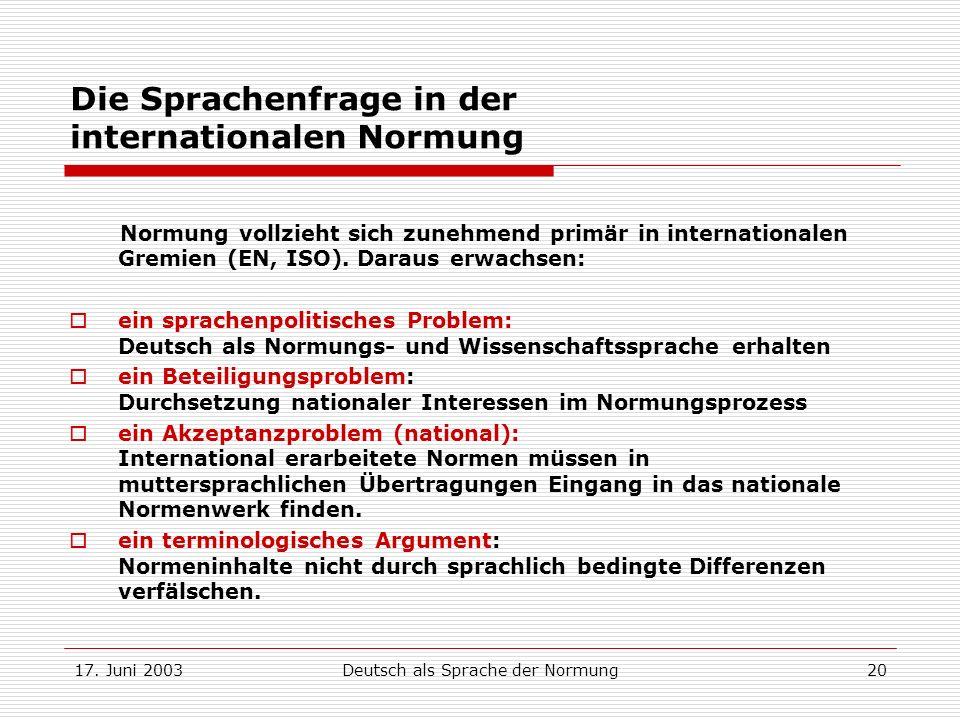 17. Juni 2003Deutsch als Sprache der Normung20 Die Sprachenfrage in der internationalen Normung Normung vollzieht sich zunehmend primär in internation