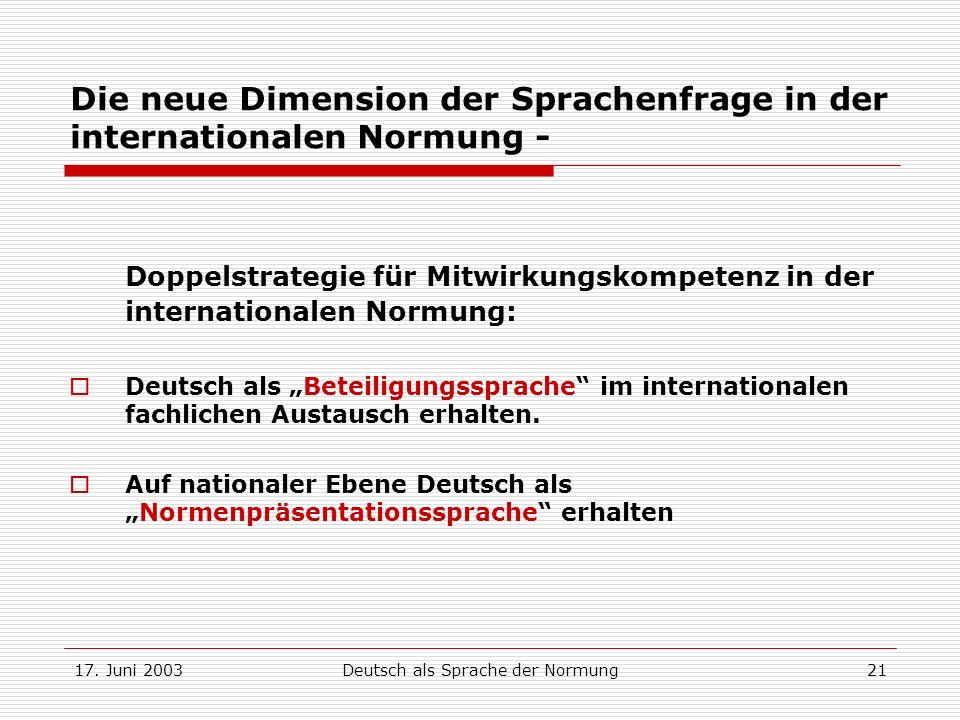 17. Juni 2003Deutsch als Sprache der Normung21 Die neue Dimension der Sprachenfrage in der internationalen Normung - Doppelstrategie für Mitwirkungsko