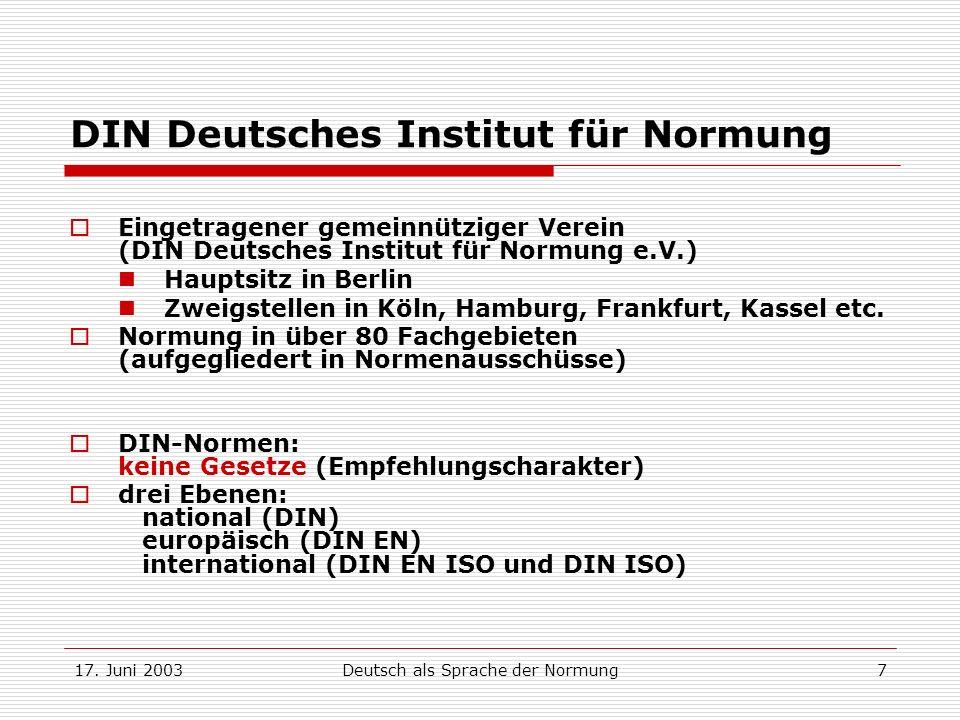 17. Juni 2003Deutsch als Sprache der Normung7 DIN Deutsches Institut für Normung Eingetragener gemeinnütziger Verein (DIN Deutsches Institut für Normu