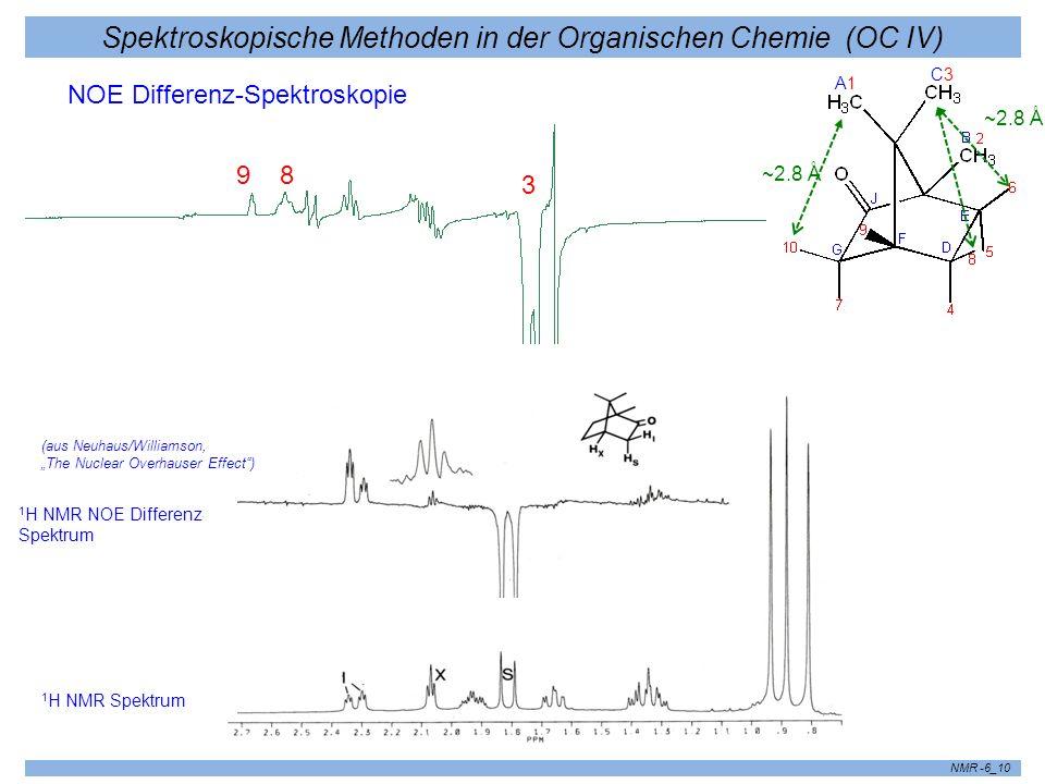Spektroskopische Methoden in der Organischen Chemie (OC IV) NMR -6_10 NOE Differenz-Spektroskopie ~2.8 Å A1A1 C3C3 98 3 1 H NMR Spektrum 1 H NMR NOE D