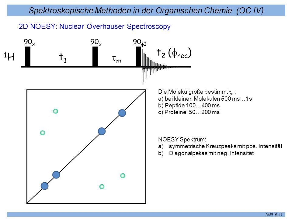 Spektroskopische Methoden in der Organischen Chemie (OC IV) NMR -6_11 2D NOESY: Nuclear Overhauser Spectroscopy Die Molekülgröße bestimmt m : a) bei k
