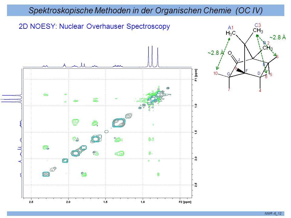 Spektroskopische Methoden in der Organischen Chemie (OC IV) NMR -6_12 2D NOESY: Nuclear Overhauser Spectroscopy ~2.8 Å A1A1 C3C3