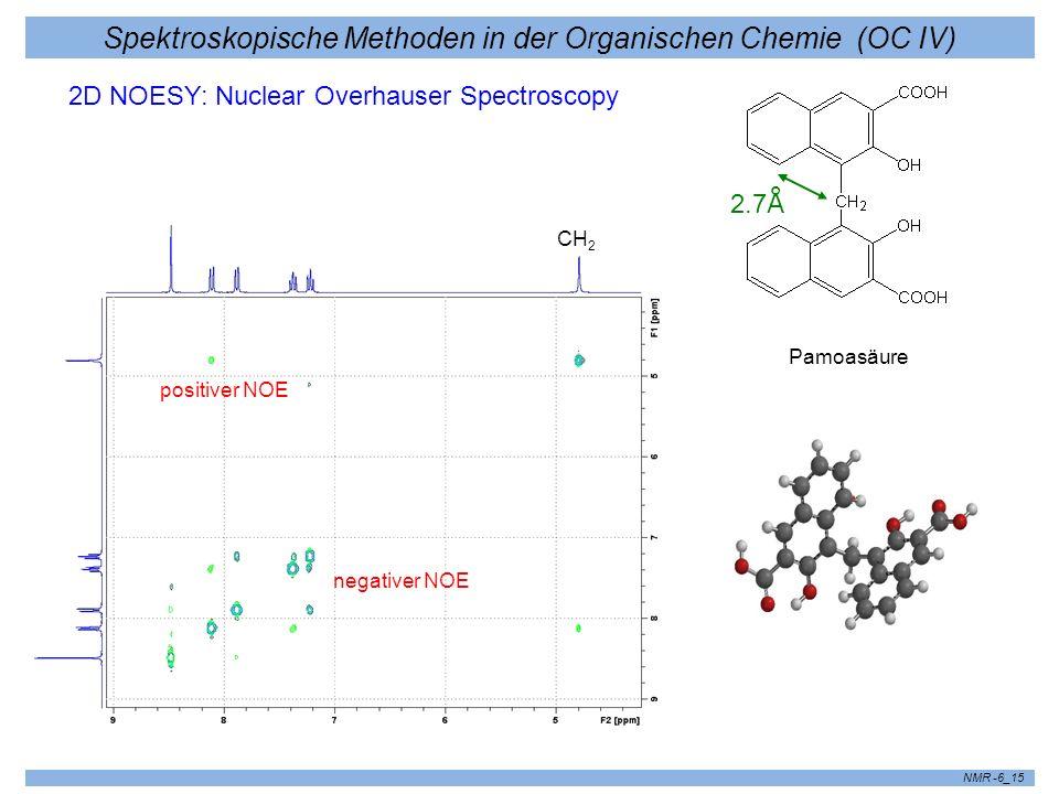 Spektroskopische Methoden in der Organischen Chemie (OC IV) NMR -6_15 2D NOESY: Nuclear Overhauser Spectroscopy CH 2 Pamoasäure 2.7 Å positiver NOE ne