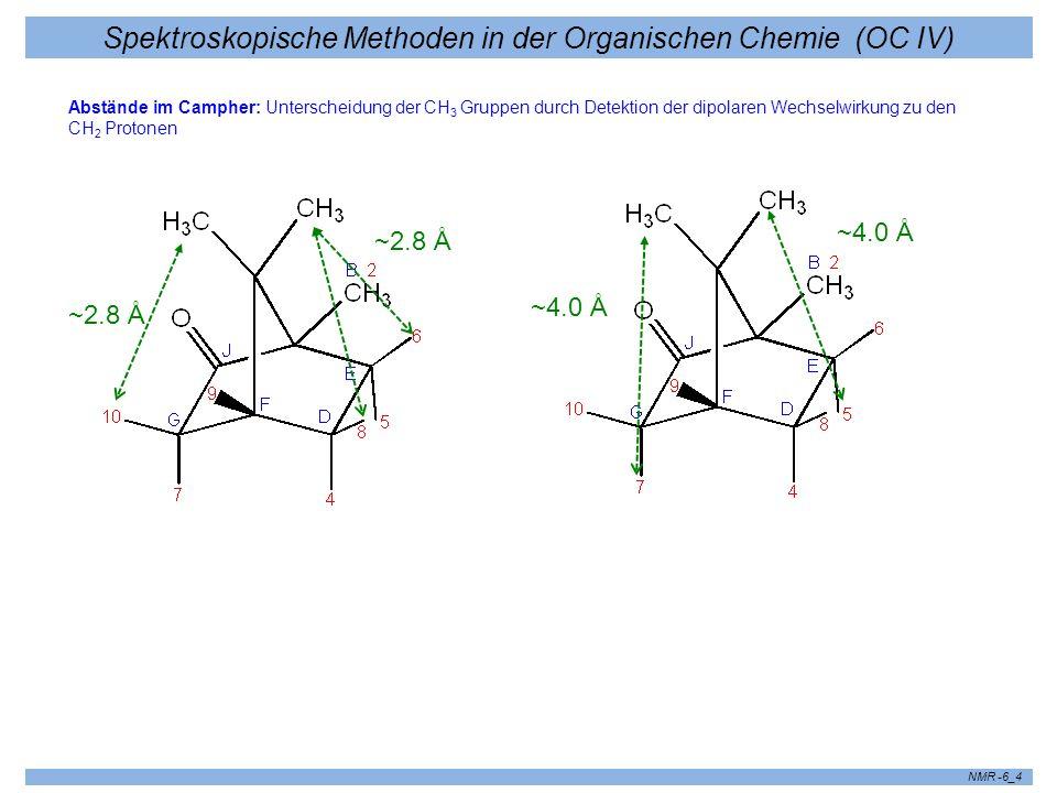 Spektroskopische Methoden in der Organischen Chemie (OC IV) NMR -6_4 ~2.8 Å ~4.0 Å Abstände im Campher: Unterscheidung der CH 3 Gruppen durch Detektio