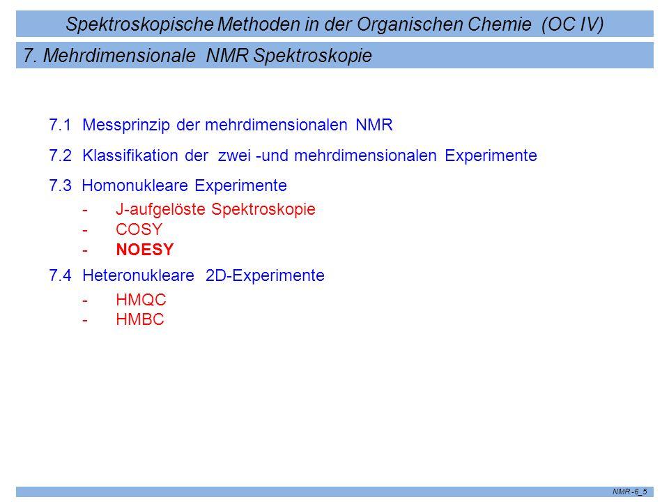 Spektroskopische Methoden in der Organischen Chemie (OC IV) NMR -6_5 7. Mehrdimensionale NMR Spektroskopie 7.1 Messprinzip der mehrdimensionalen NMR 7
