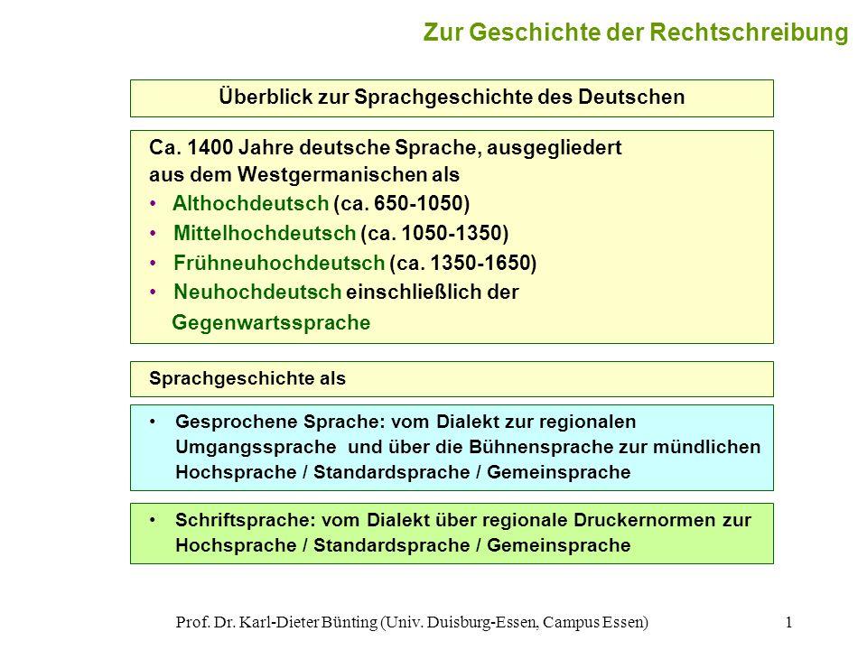 Prof. Dr. Karl-Dieter Bünting (Univ. Duisburg-Essen, Campus Essen)1 Überblick zur Sprachgeschichte des Deutschen Zur Geschichte der Rechtschreibung Ca