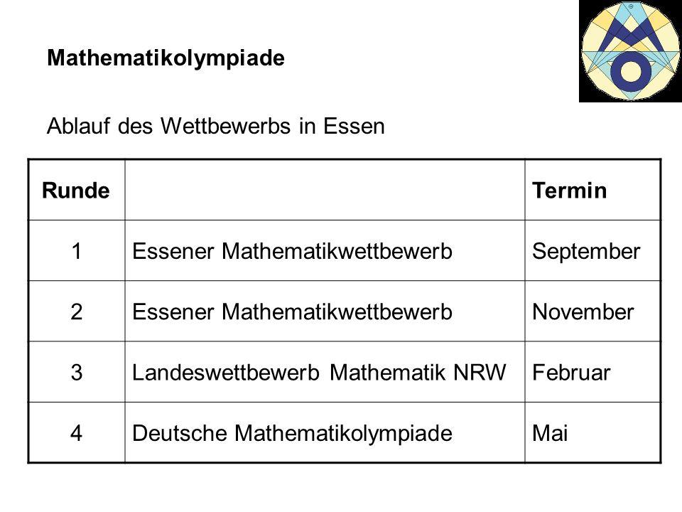 Mathematikolympiade Ablauf des Wettbewerbs in Essen RundeTermin 1Essener MathematikwettbewerbSeptember 2Essener MathematikwettbewerbNovember 3Landeswe