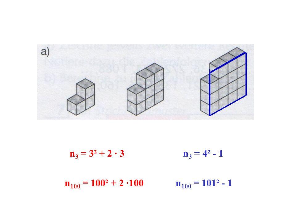 n 3 = 4² - 1 n 100 = 100² + 2 ·100 n 100 = 101² - 1