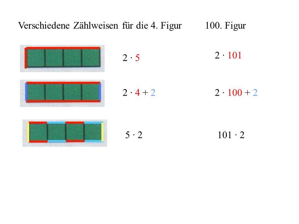 Verschiedene Zählweisen für die 4. Figur 2 · 5 2 · 4 + 2 5 · 2 100. Figur 2 · 101 2 · 100 + 2 101 · 2