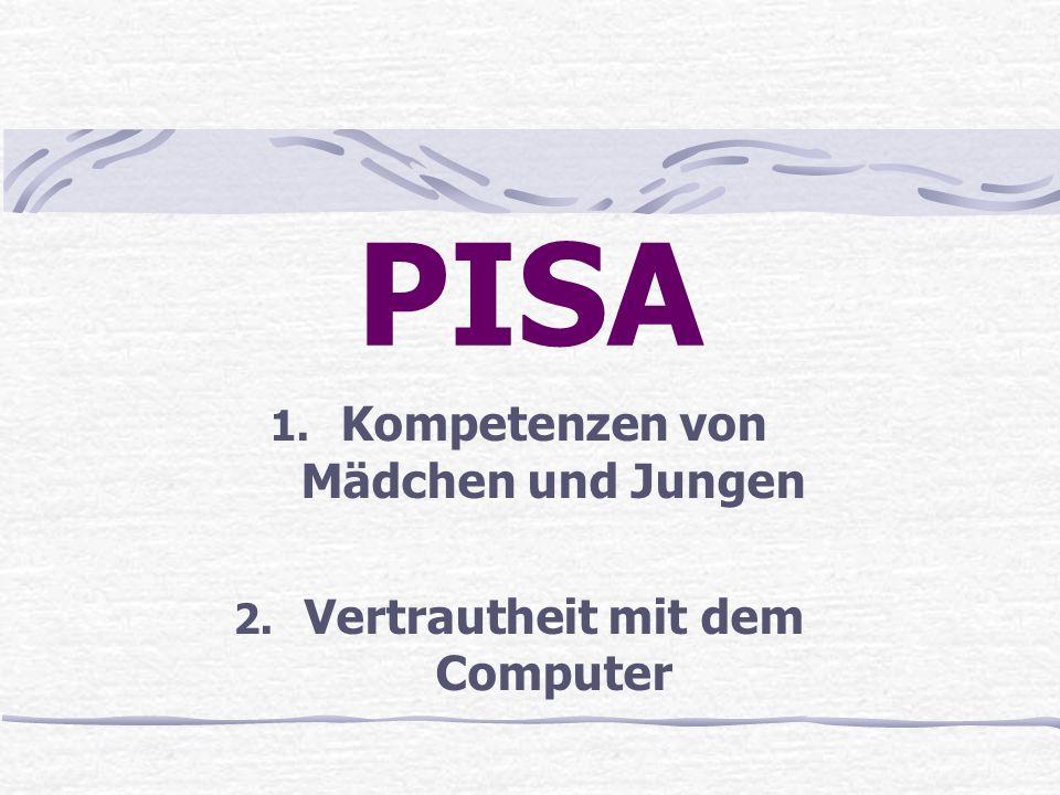 PISA 1. Kompetenzen von Mädchen und Jungen 2. Vertrautheit mit dem Computer