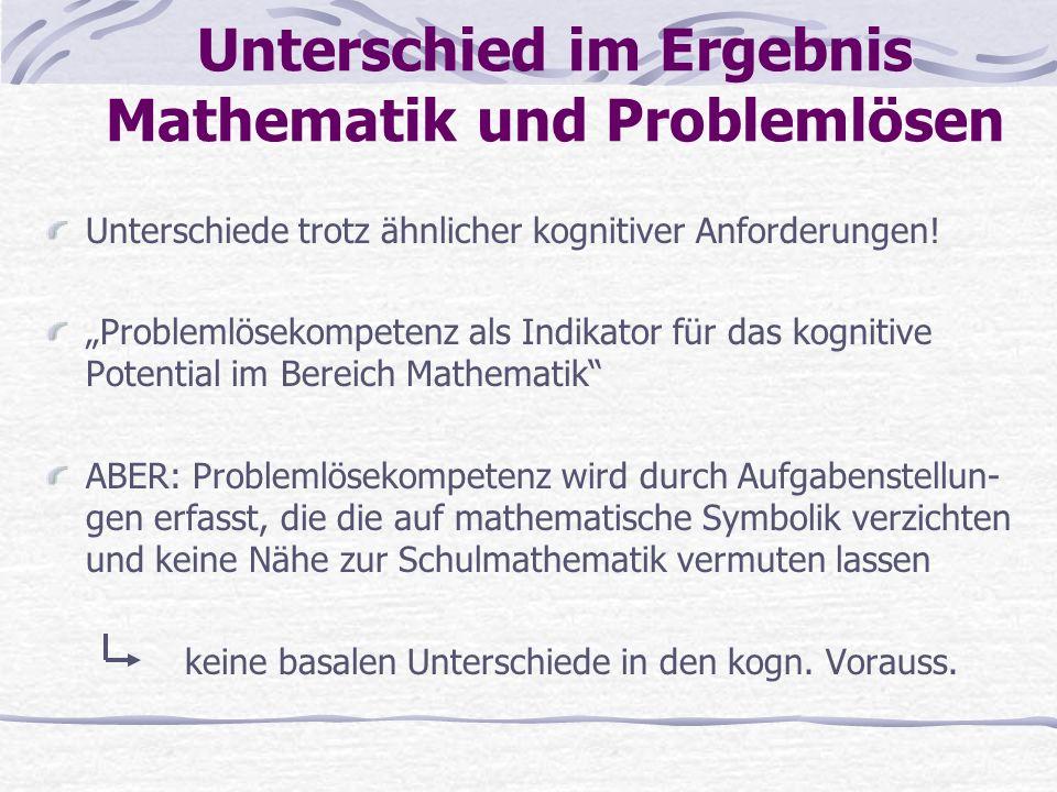Unterschied im Ergebnis Mathematik und Problemlösen Unterschiede trotz ähnlicher kognitiver Anforderungen! Problemlösekompetenz als Indikator für das