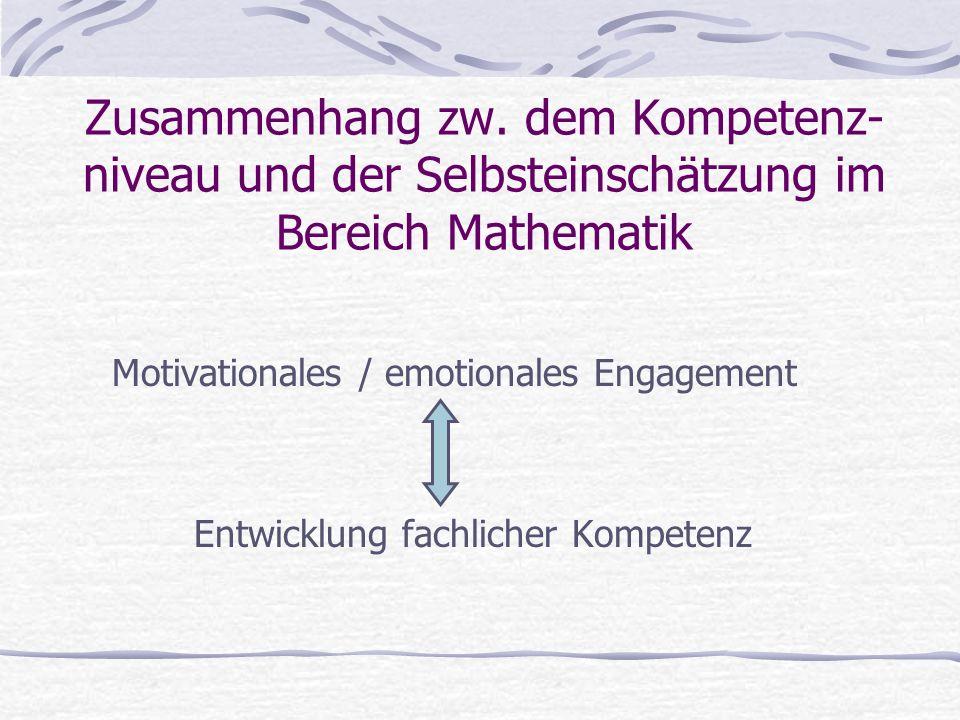 Zusammenhang zw. dem Kompetenz- niveau und der Selbsteinschätzung im Bereich Mathematik Motivationales / emotionales Engagement Entwicklung fachlicher