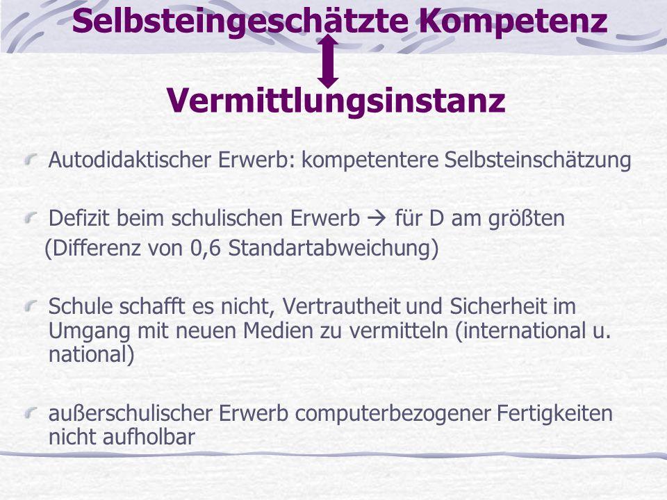 Selbsteingeschätzte Kompetenz Vermittlungsinstanz Autodidaktischer Erwerb: kompetentere Selbsteinschätzung Defizit beim schulischen Erwerb für D am gr