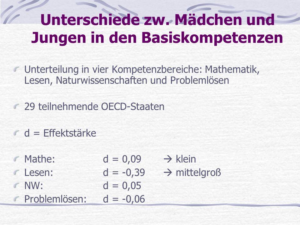 Unterschiede zw. Mädchen und Jungen in den Basiskompetenzen Unterteilung in vier Kompetenzbereiche: Mathematik, Lesen, Naturwissenschaften und Problem