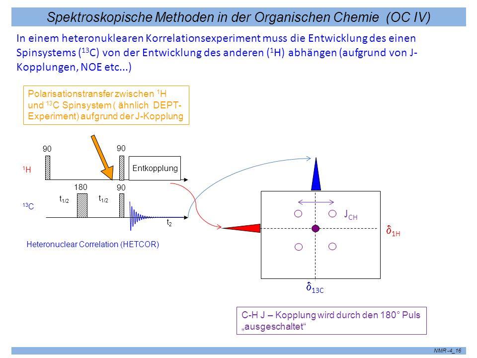 Spektroskopische Methoden in der Organischen Chemie (OC IV) NMR -4_16 In einem heteronuklearen Korrelationsexperiment muss die Entwicklung des einen S