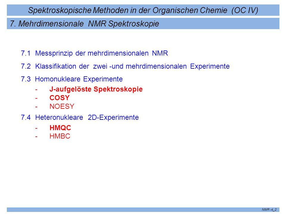 Spektroskopische Methoden in der Organischen Chemie (OC IV) NMR -4_2 7. Mehrdimensionale NMR Spektroskopie 7.1 Messprinzip der mehrdimensionalen NMR 7