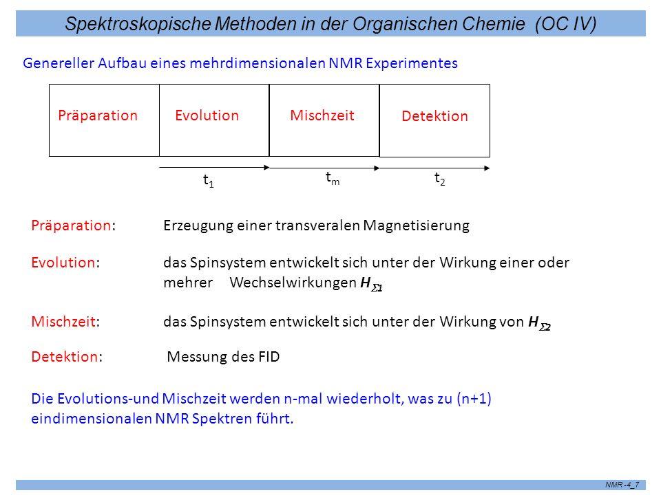 Spektroskopische Methoden in der Organischen Chemie (OC IV) NMR -4_7 Genereller Aufbau eines mehrdimensionalen NMR Experimentes Präparation Präparatio