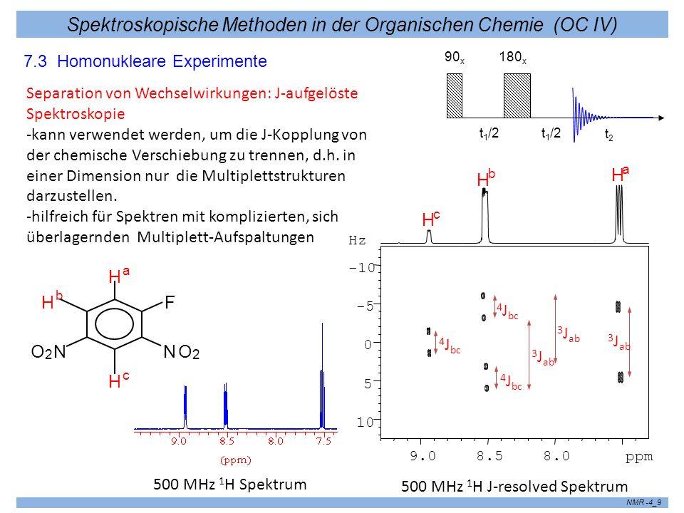 Spektroskopische Methoden in der Organischen Chemie (OC IV) NMR -4_9 7.3 Homonukleare Experimente Separation von Wechselwirkungen: J-aufgelöste Spektr