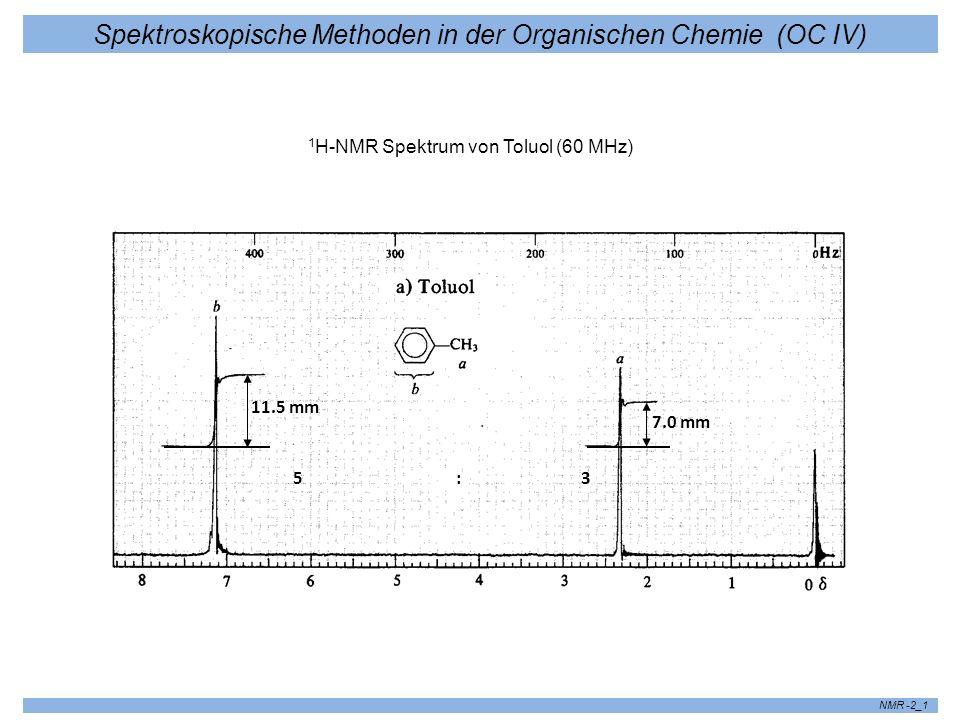 Spektroskopische Methoden in der Organischen Chemie (OC IV) NMR -2_1 1 H-NMR Spektrum von Toluol (60 MHz) 11.5 mm 7.0 mm 5 : 3