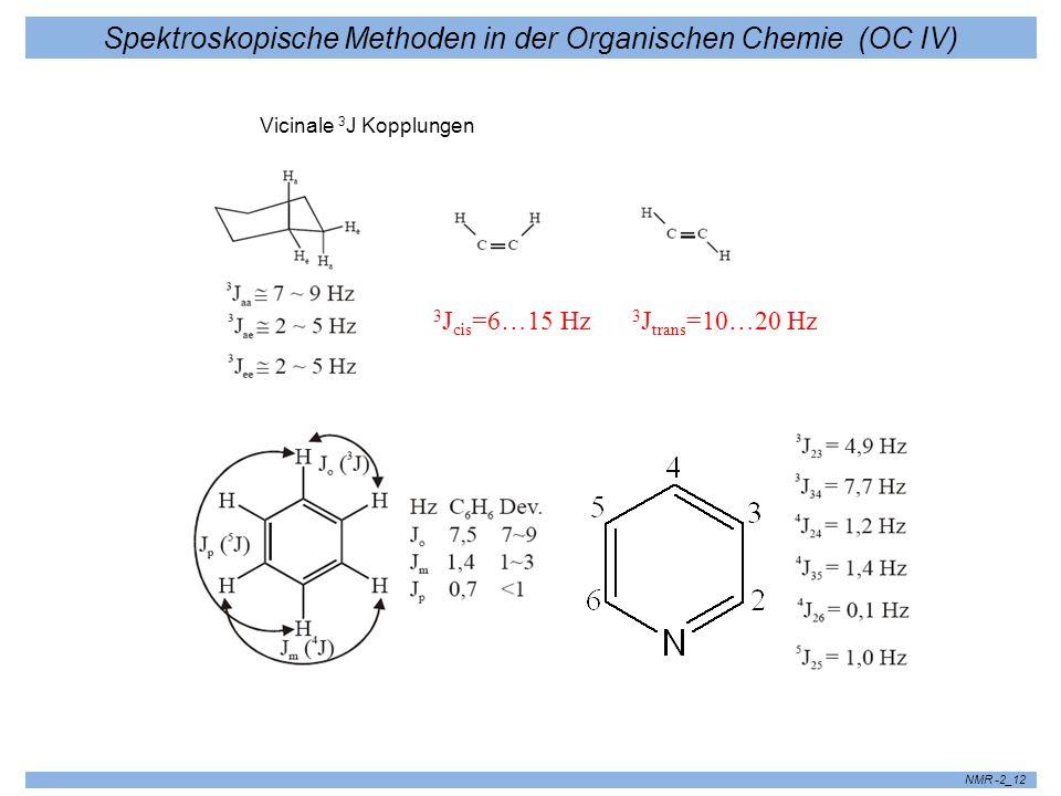 Spektroskopische Methoden in der Organischen Chemie (OC IV) NMR -2_12 J 3 J cis =6…15 Hz 3 J trans =10…20 Hz Vicinale 3 J Kopplungen