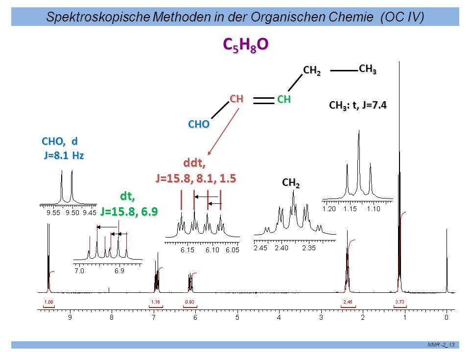 Spektroskopische Methoden in der Organischen Chemie (OC IV) NMR -2_13 C5H8OC5H8OC5H8OC5H8O CHO, d J=8.1 Hz J=8.1 Hz dt, J=15.8, 6.9 J=15.8, 6.9 CHO CH
