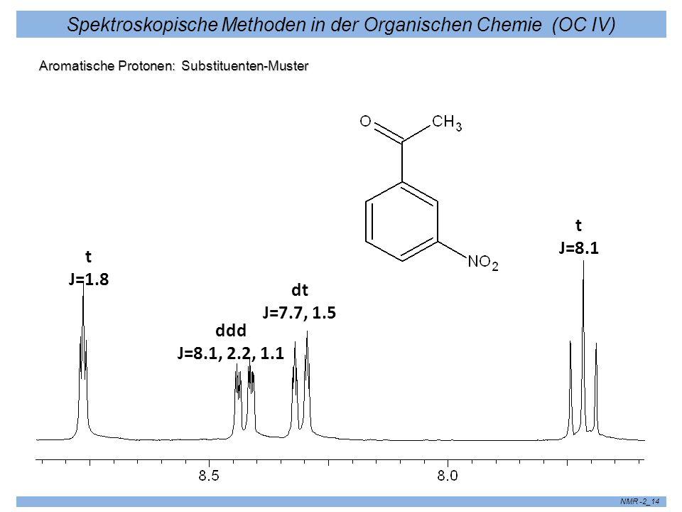 Spektroskopische Methoden in der Organischen Chemie (OC IV) NMR -2_14 Aromatische Protonen: Substituenten-Muster t J=8.1 dt J=7.7, 1.5 ddd J=8.1, 2.2,