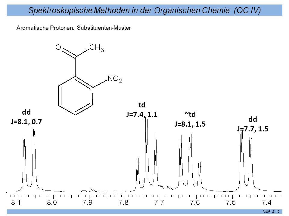 Spektroskopische Methoden in der Organischen Chemie (OC IV) NMR -2_15 Aromatische Protonen: Substituenten-Muster dd J=7.7, 1.5 dd J=8.1, 0.7 td J=7.4,