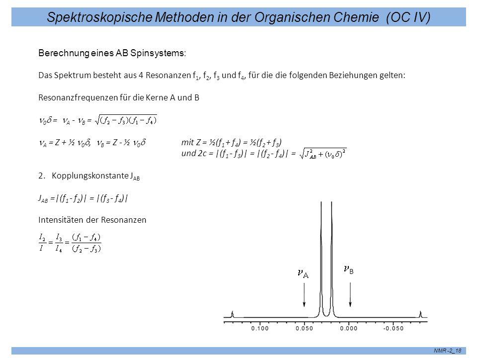 Spektroskopische Methoden in der Organischen Chemie (OC IV) NMR -2_18 Berechnung eines AB Spinsystems: Das Spektrum besteht aus 4 Resonanzen f 1, f 2,