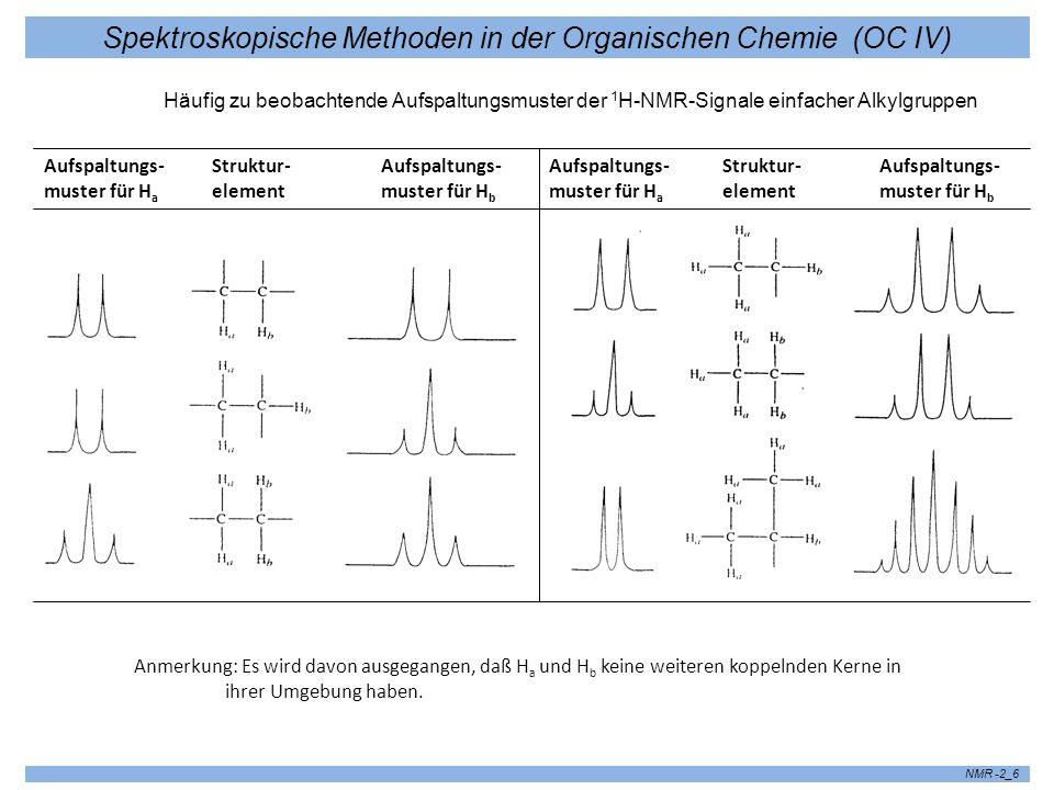 Spektroskopische Methoden in der Organischen Chemie (OC IV) NMR -2_6 Anmerkung: Es wird davon ausgegangen, daß H a und H b keine weiteren koppelnden K