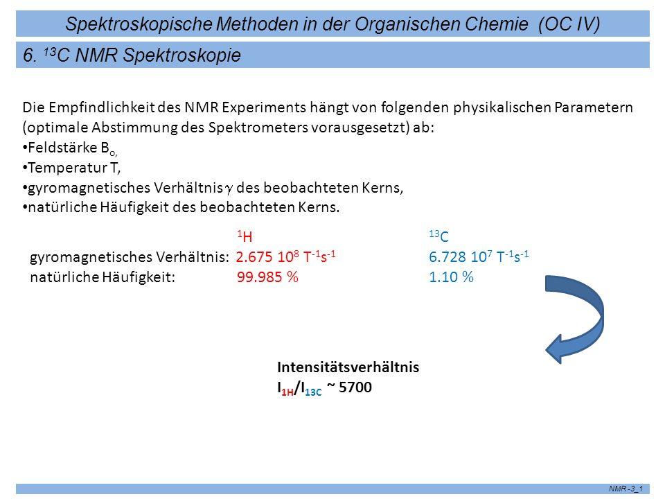 Spektroskopische Methoden in der Organischen Chemie (OC IV) NMR -3_1 6. 13 C NMR Spektroskopie Die Empfindlichkeit des NMR Experiments hängt von folge