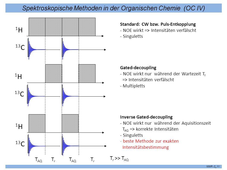 Spektroskopische Methoden in der Organischen Chemie (OC IV) NMR -3_11 13 C 1H1H 1H1H 1H1H Standard: CW bzw. Puls-Entkopplung - NOE wirkt => Intensität