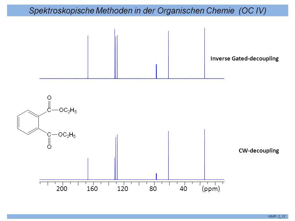 Spektroskopische Methoden in der Organischen Chemie (OC IV) NMR -3_12 4080120160200(ppm) CW-decoupling Inverse Gated-decoupling