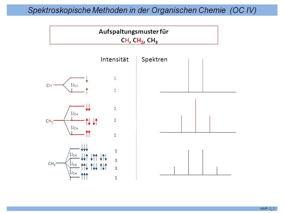 Spektroskopische Methoden in der Organischen Chemie (OC IV) NMR -3_3 Aufspaltungsmuster für CH, CH 2, CH 3 |J CH | Intensität 1 2 1 1 1 1 3 1 3 CH2CH2 CHCH CH 3 Spektren |J CH |