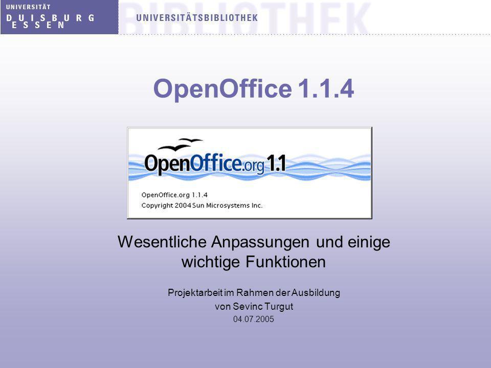 OpenOffice 1.1.4 Wesentliche Anpassungen und einige wichtige Funktionen Projektarbeit im Rahmen der Ausbildung von Sevinc Turgut 04.07.2005