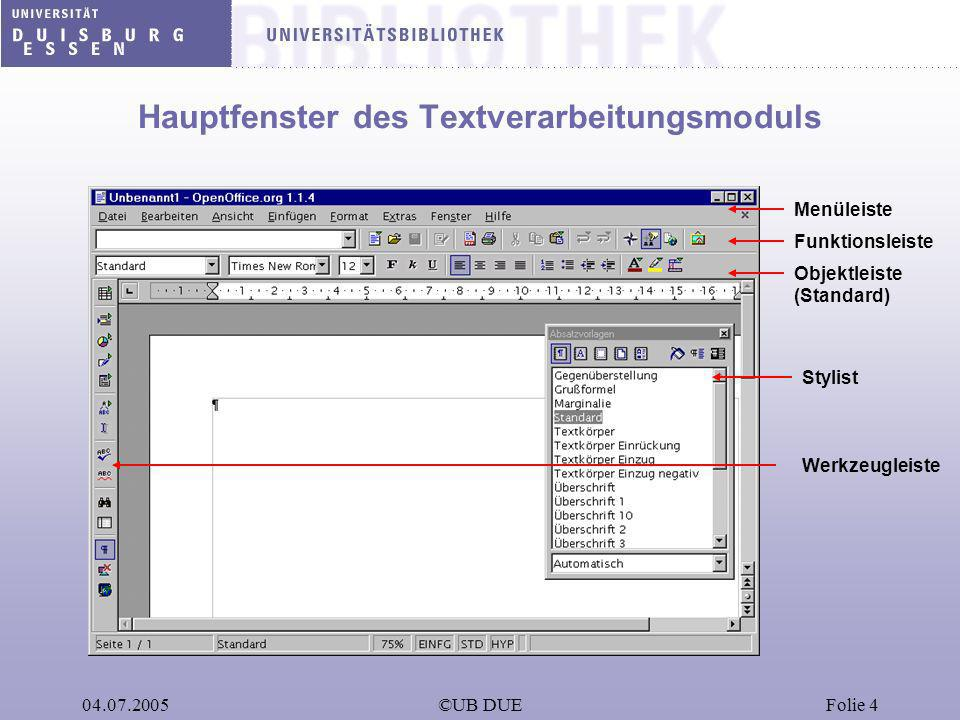 04.07.2005©UB DUEFolie 4 Hauptfenster des Textverarbeitungsmoduls Objektleiste (Standard) Funktionsleiste Menüleiste Werkzeugleiste Stylist