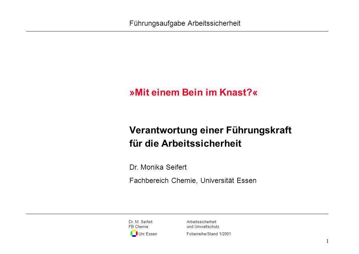 Seite 1 Führungsaufgabe Arbeitssicherheit Dateiname Arbeitssicherheit und Umweltschutz Folienreihe/Stand 1/2001 Dr. M. Seifert FB Chemie Uni Essen 1 V