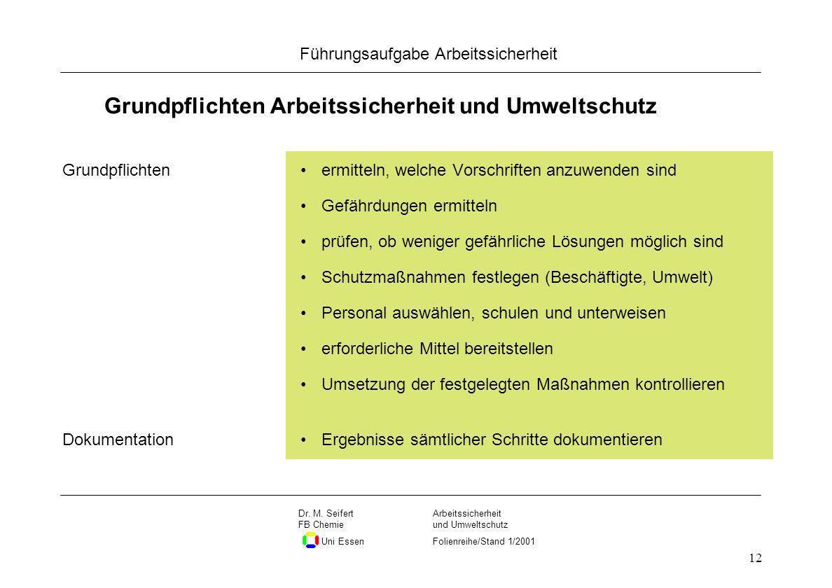 Seite 12 Führungsaufgabe Arbeitssicherheit Dateiname Arbeitssicherheit und Umweltschutz Folienreihe/Stand 1/2001 Dr. M. Seifert FB Chemie Uni Essen 12