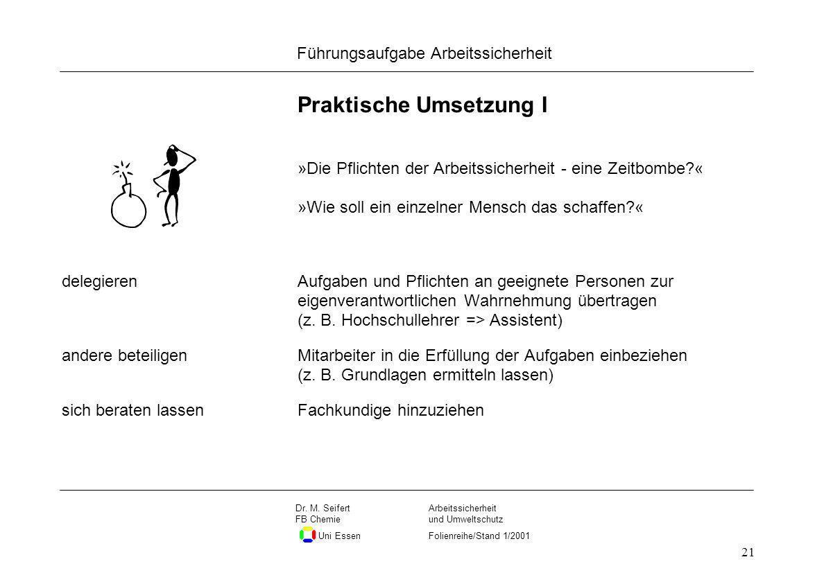 Seite 21 Führungsaufgabe Arbeitssicherheit Dateiname Arbeitssicherheit und Umweltschutz Folienreihe/Stand 1/2001 Dr. M. Seifert FB Chemie Uni Essen 21