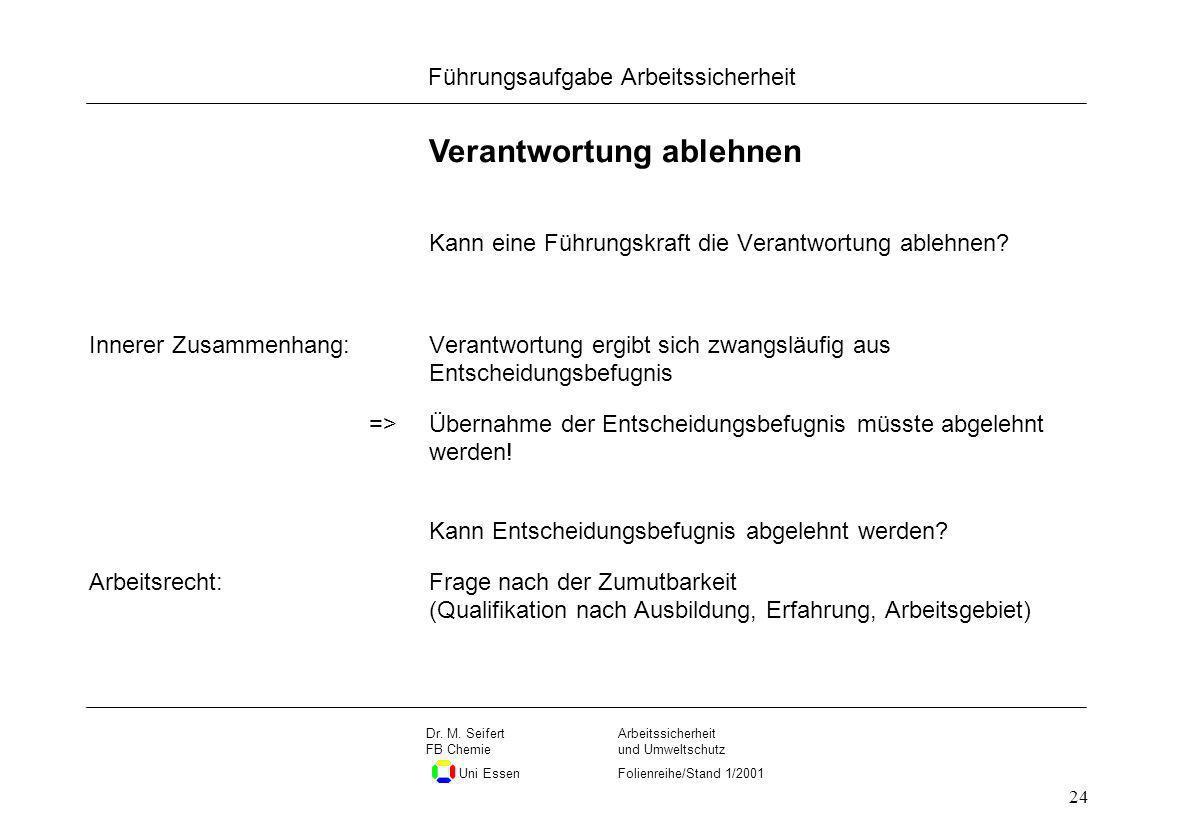 Seite 24 Führungsaufgabe Arbeitssicherheit Dateiname Arbeitssicherheit und Umweltschutz Folienreihe/Stand 1/2001 Dr. M. Seifert FB Chemie Uni Essen 24