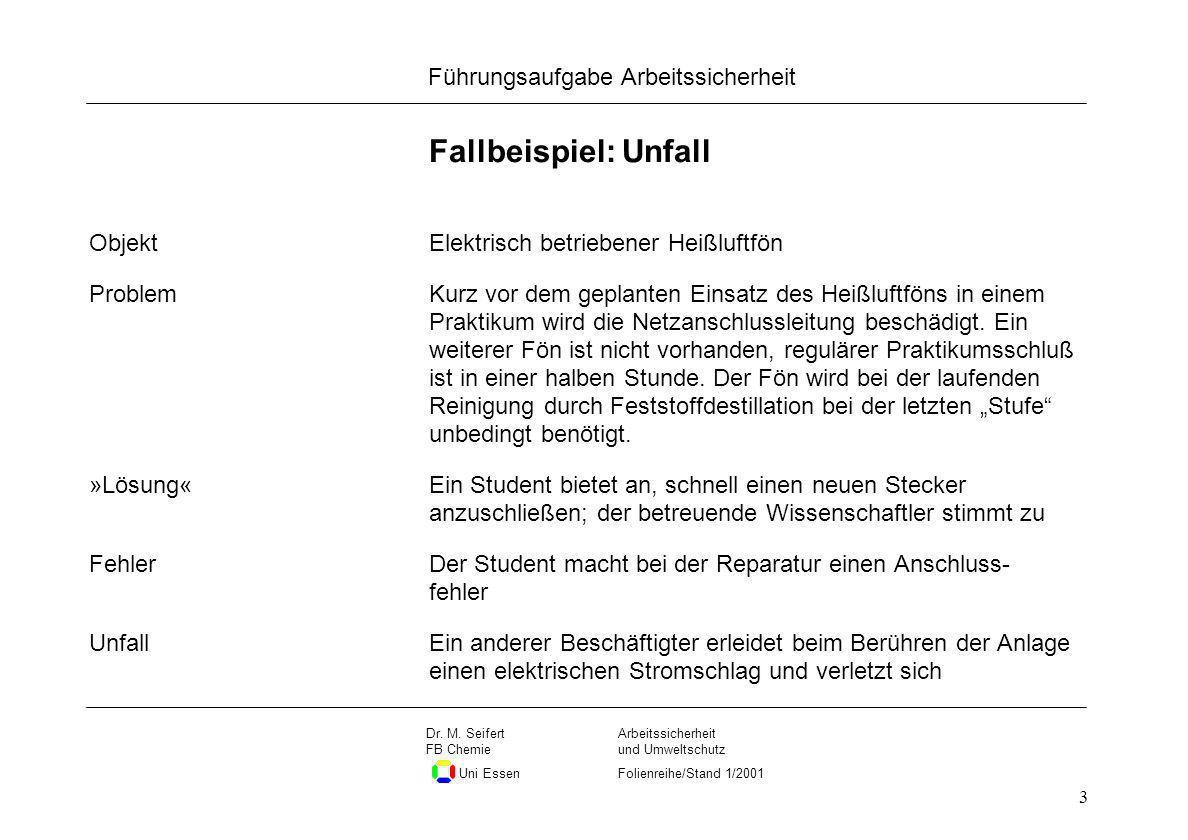Seite 3 Führungsaufgabe Arbeitssicherheit Dateiname Arbeitssicherheit und Umweltschutz Folienreihe/Stand 1/2001 Dr. M. Seifert FB Chemie Uni Essen 3 F