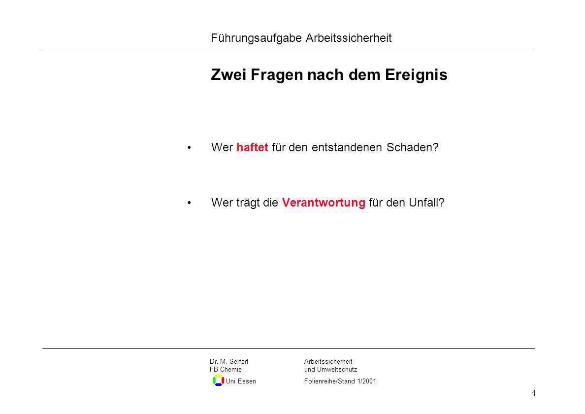 Seite 4 Führungsaufgabe Arbeitssicherheit Dateiname Arbeitssicherheit und Umweltschutz Folienreihe/Stand 1/2001 Dr. M. Seifert FB Chemie Uni Essen 4 Z