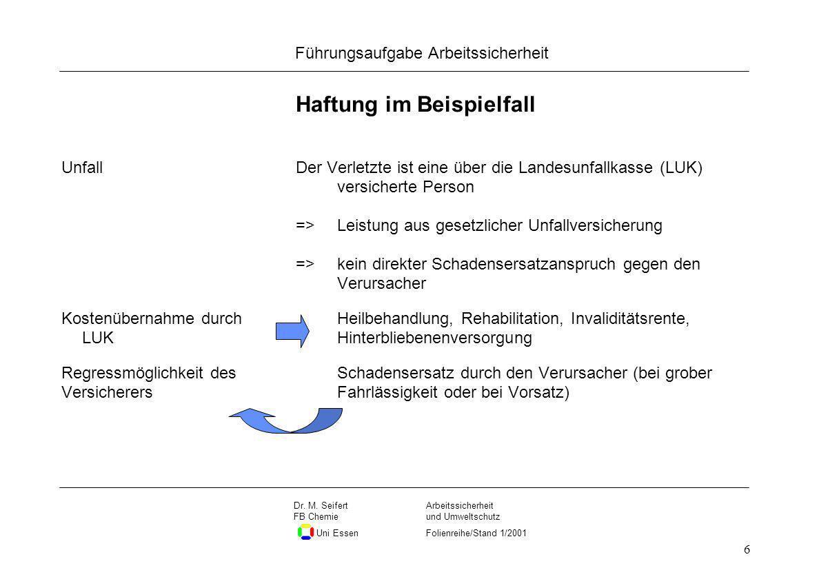 Seite 6 Führungsaufgabe Arbeitssicherheit Dateiname Arbeitssicherheit und Umweltschutz Folienreihe/Stand 1/2001 Dr. M. Seifert FB Chemie Uni Essen 6 H