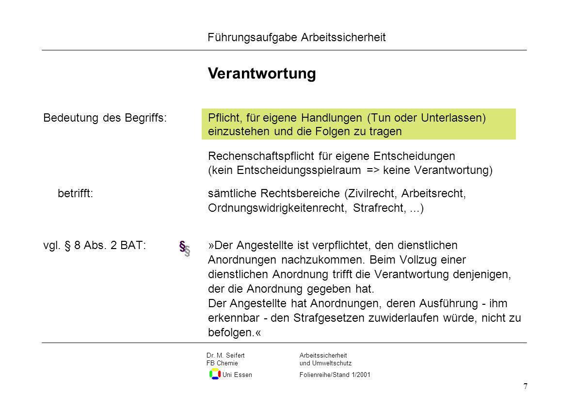 Seite 7 Führungsaufgabe Arbeitssicherheit Dateiname Arbeitssicherheit und Umweltschutz Folienreihe/Stand 1/2001 Dr. M. Seifert FB Chemie Uni Essen 7 V