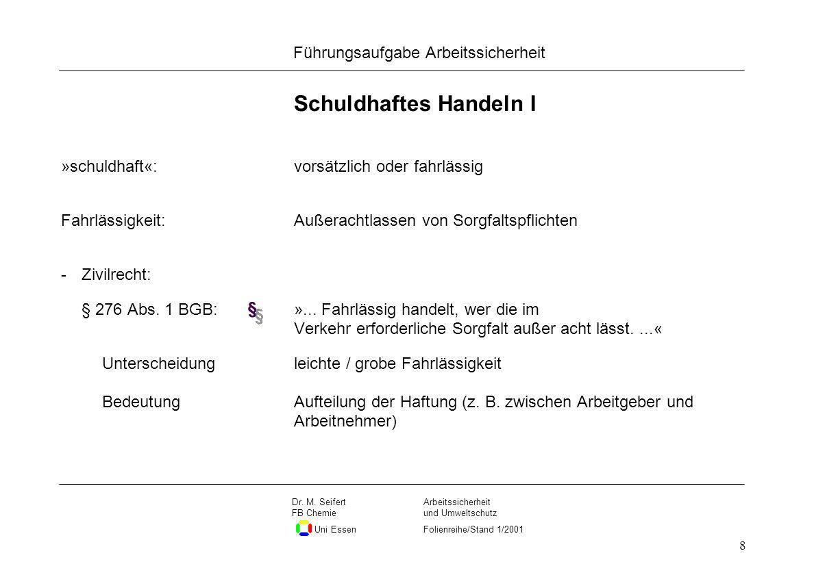 Seite 8 Führungsaufgabe Arbeitssicherheit Dateiname Arbeitssicherheit und Umweltschutz Folienreihe/Stand 1/2001 Dr. M. Seifert FB Chemie Uni Essen 8 S