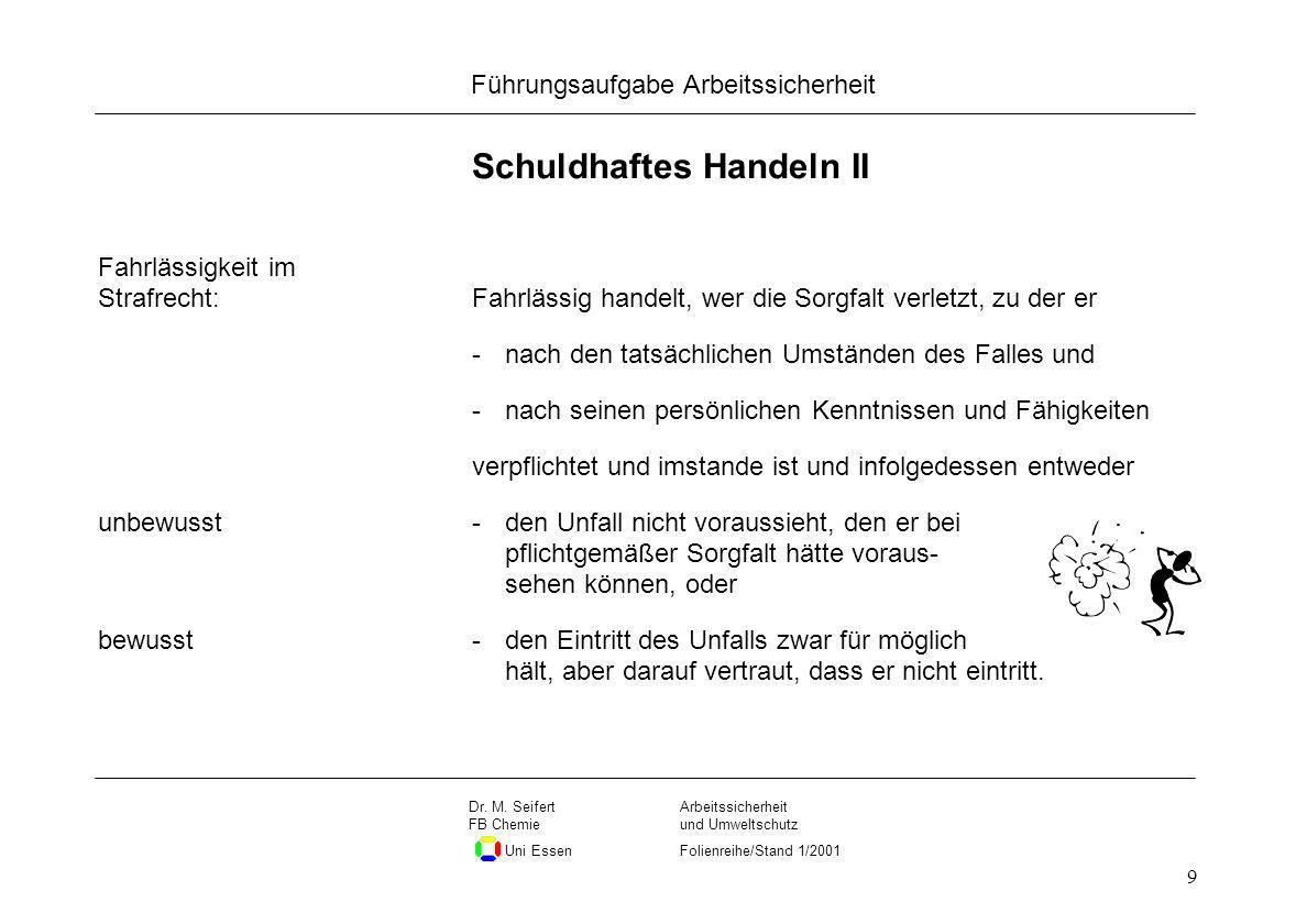 Seite 9 Führungsaufgabe Arbeitssicherheit Dateiname Arbeitssicherheit und Umweltschutz Folienreihe/Stand 1/2001 Dr. M. Seifert FB Chemie Uni Essen 9 S