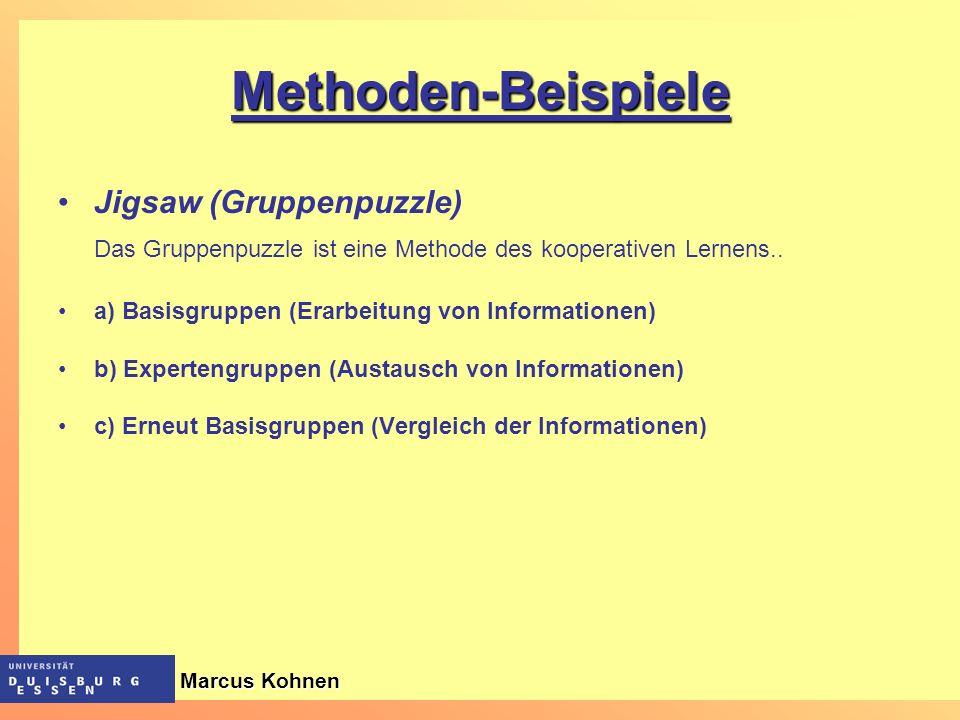 Methoden-Beispiele Jigsaw (Gruppenpuzzle) Das Gruppenpuzzle ist eine Methode des kooperativen Lernens.. a) Basisgruppen (Erarbeitung von Informationen