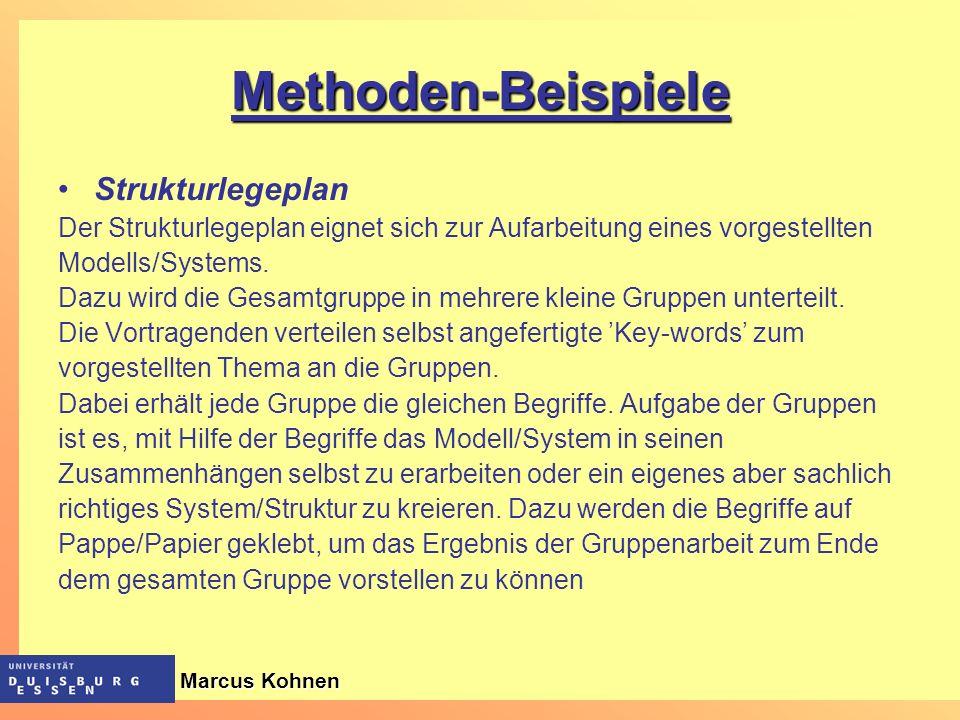 Methoden-Beispiele Strukturlegeplan Der Strukturlegeplan eignet sich zur Aufarbeitung eines vorgestellten Modells/Systems. Dazu wird die Gesamtgruppe