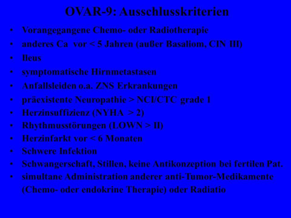 Vorangegangene Chemo- oder Radiotherapie anderes Ca vor < 5 Jahren (außer Basaliom, CIN III) Ileus symptomatische Hirnmetastasen Anfallsleiden o.a.