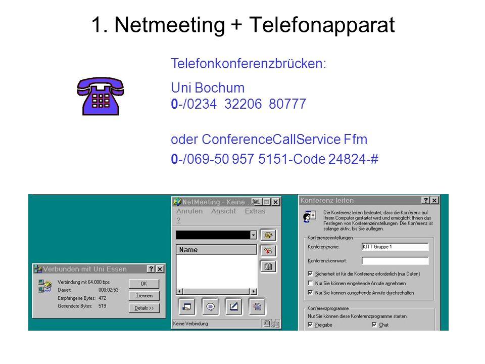 1. Netmeeting + Telefonapparat Telefonkonferenzbrücken: Uni Bochum 0-/0234 32206 80777 oder ConferenceCallService Ffm 0-/069-50 957 5151-Code 24824-#