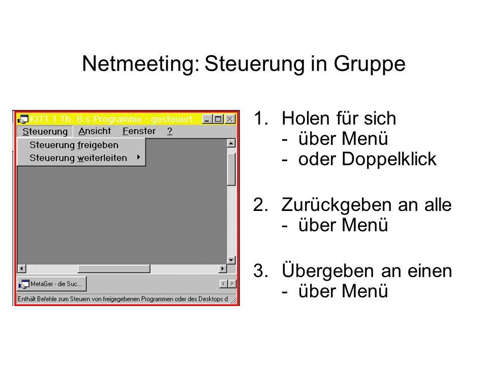 Netmeeting: Steuerung in Gruppe 1.Holen für sich - über Menü - oder Doppelklick 2.Zurückgeben an alle - über Menü 3.Übergeben an einen - über Menü